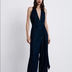 Zara green velvet look jumpsuit